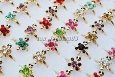 Wholesale 10Pcs Turtle Exquisite Rhinestone Filled Gold Plated Rings Wedding