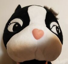 Cartoon Face Kitty Cat Black White Plush Stuffed Build A Bear BABW w/ flower