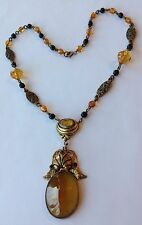 VINTAGE ART DECO TOPAZ AMBER & BLACK GLASS BEAD AND PENDANT NECKLACE P1