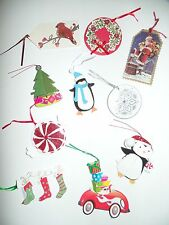 Lot of 10 Large Holiday Christmas Gift Tags Present Tags Embellished New