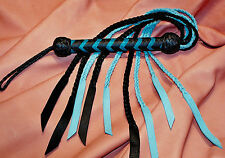 """USA Hand crafted Genuine Leather Cat of 9 Tail 31"""" Flat Braid Cat C14 Blk & Blue"""