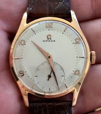 Exceptional 18K Rose Gold Omega Oversized Men's Watch c1948 Running 265 Movement