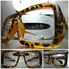 OVERSIZE VINTAGE RETRO PARTY Clear Lens EYE GLASSES Matte Tortoise Fashion Frame