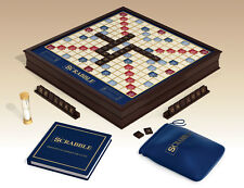 French Scrabble Classic Deluxe Wooden Edition w/ Rotating Turntable Game Board