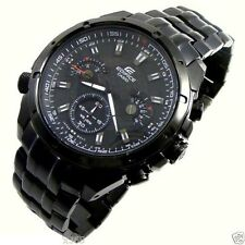Imported Luxury Edifice EF 535BK 1A, Full Black Chronograph Watch for Men