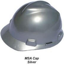 MSA V-Guard Cap Style Hard Hats with Ratchet Suspensions - Silver