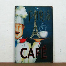 """CAFE PARIS"" Tin Sign Eiffel Tower & Cook Pattern Metal Poster Restaurant Decor"