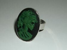 Skeleton Lady Ring grün Gothic Rockabilly Cameo Skelett 3D Steampunk Dark green