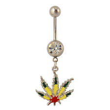 Rasta Pot Leaf Dangle Belly Ring Bar Marijuana Leaf Navel Ring 14 Gauge
