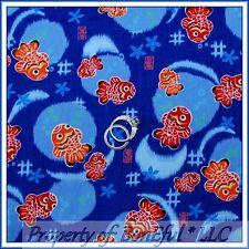 BonEful Fabric FQ Cotton Blue Orange Sm Fish Sushi Flower Asian Oriental Origami