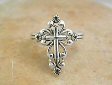 ELEGANT .925 STERLING SILVER FILIGREE CROSS RING size 8  style# r1512