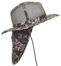 Summer Wide Brim Mesh Safari/Outback Hat W/Neck Flap #982 Digital Camo L