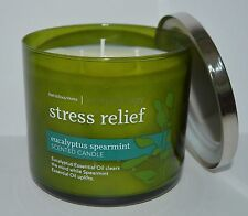 BATH & BODY WORKS STRESS RELIEF EUCALYPTUS SPEARMINT SCENTED CANDLE 3 WICK 14.5