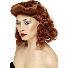 Smiffy's Women's Pin Up Girl Wig Auburn with Loose Curls