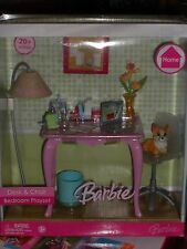 RARE 2006 BARBIE SPECIAL EDITION HOME DESK & CHAIR BEDROOM WITH CORGI DOG SET!!