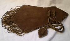 Native American Leather Beaded Purse Bag Brown Glass Beads For Tourist Trade