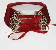 "14"" burgundy velvet corset victorian lace up choker collar necklace 2"" wide"