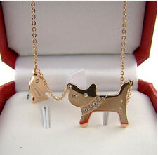 "21mm Gold PlateD Titanium Cat Fish CZ Animal Pendant Necklace Chain 16""-18"""