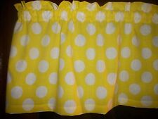 Yellow Large Polka Dot Retro MId-century cotton fabric topper curtain Valance