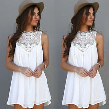 Women Lace Hollow Casual Sleeveless Evening Party Beach Dress Short Mini Dress L