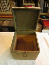 "Vintage Hard Solid Wood Phonograph Record Case Portable Storage 7"" 45 rpm"