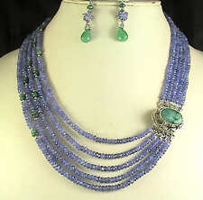 420Cts NATURAL TANZANITE EMERALD NECKLACE 5 STRAND - EMERALD CLASP FREE EARRING