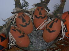 PATTERN~ PRIMITIVE HALLOWEEN JACK O LANTERN SCARECROWS BOWL FILLERS DOLL ORNIES