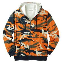 Big Mens Thermal Lined Cotton Fleece Full Zipper Hood Sweatshirt Hoodie Pockets