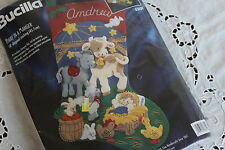 "BUCILLA Felt Applique 18"" Christmas Stocking Kit AWAY IN A MANGER~Creche Animals"