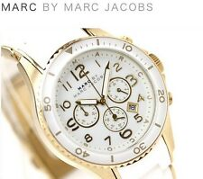 NEW MARC JACOBS ROCK WHITE & ROSE GOLD CHRONO SILICONE LADIES WATCH MBM2546
