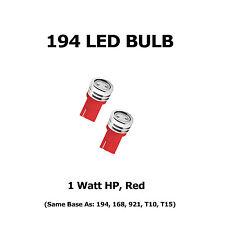 (2) 194 LED Bulbs - HP 1 Watt, Red - Same Base as 168, 921, T10, T15
