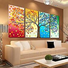 4 Panels Season Trees Canvas Print Wall Art Painting Picture Home Hall Decor