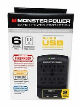 Monster Power EXP 650 USB Wall Tap Surge Protector - 6 Outlets w/ 2 USB Ports