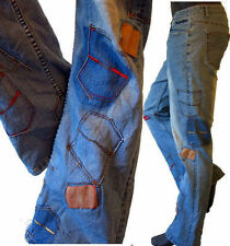 HIPPIE jean pant patch deconstructed 34 15 distressed bell bottom patchwork 70