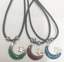 12 PAUA SHELL MOON & STAR  PENDANT ROPE NECKLACE beads 18IN UNISEX #440 JEWELRY