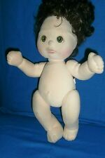 "Mattel 1985 My Child Doll 14"" Dark Brown Black Hair Green Eyes Hazel"