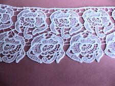 """Vintage Venise lace Ivory Rose Trim 4"""" Hat  bridal linen Quilt #1817a"""