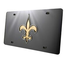 New Orleans Saints Black Mirrored Laser Cut License Plate Laser Tag