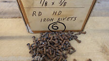 "PACK OF 50 1/8"" x 3/8"" ROUND HEAD STEEL IRON RIVETS  NOS RESTORE STEAM  BOX 6"