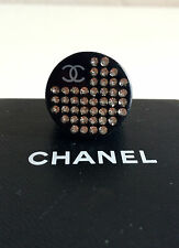 CHANEL Ring Logo CC Resin Black Crystals Spring 2005 SOLD OUT