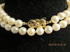 "~~18K~MIKIMOTO~26.5""  LONG 7.5 X 7mm   SHINY FABULOUS PEARL NECKLACE"