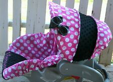 pink polka dots w/black minky infant car seat Cover and hood cover w/ bow and em