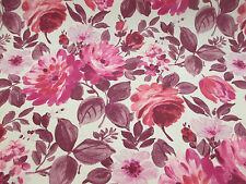 "4 Metres Ivory & Pink Vintage Floral ""Finesse"" 100% Cotton Curtain Fabric."
