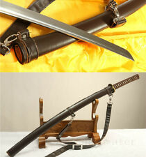 "41""Folded Steel Very Sharp Japanese Samurai Katana Sword Saber Leather Saya"