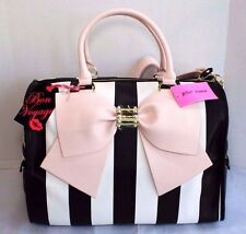 Betsey Johnson Weekender Bow Nanza Black & White Stripe Blush Travel Duffel Bag
