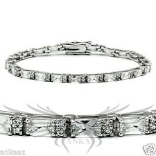 Ladies Brilliant AAA Grade Cubic Zircon CZ Rhodium Plated Tennis Bracelet 47401