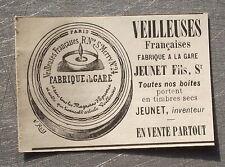Publicité ancienne Veilleuses JEUNET     1900 advert
