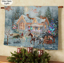 Welcome Home Christmas Fiber Optic Tapestry Wall Hanging ~ Nicky Boehme