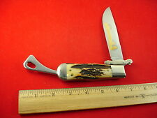 MARBLES 2002 RARE STAG SWING GUARD SAFETY FOLDER NICE KNIFE MADE IN USA 1 OF 200