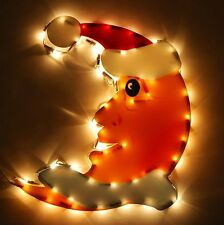 Christmas Light Silhouette Moon With Santa Hat Silhouette Decoration XMAS